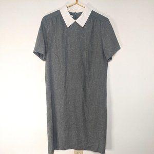 Vintage Grey Shift Midi Dress White Collar 14P